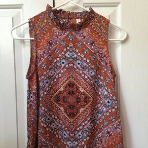 high neck patterned tank top